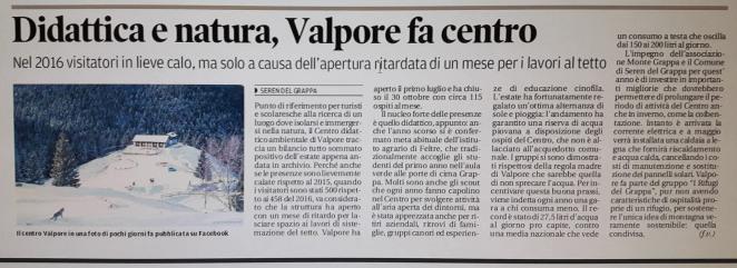 Valpore su Corriere delle Alpi